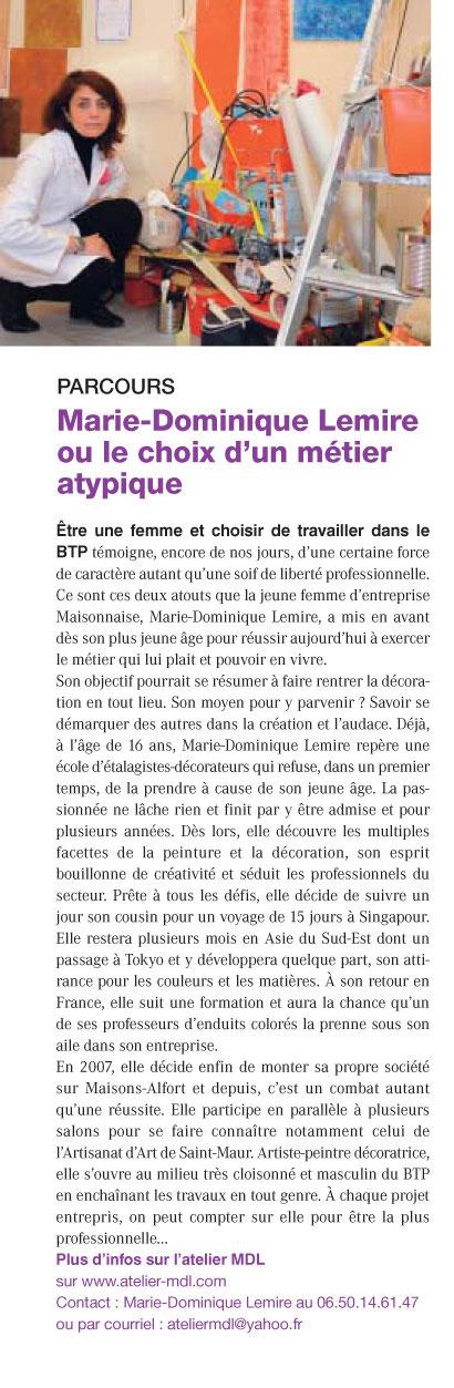 Atelier MDL article de presse Maisons-Alfort